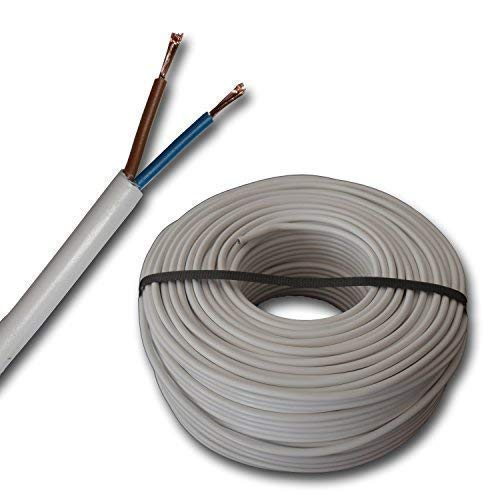 100 Meter Schlauchleitung H03VV-F 2G0,75 mm² - 2x0,75 mm² - weiß - 100 m Ring -