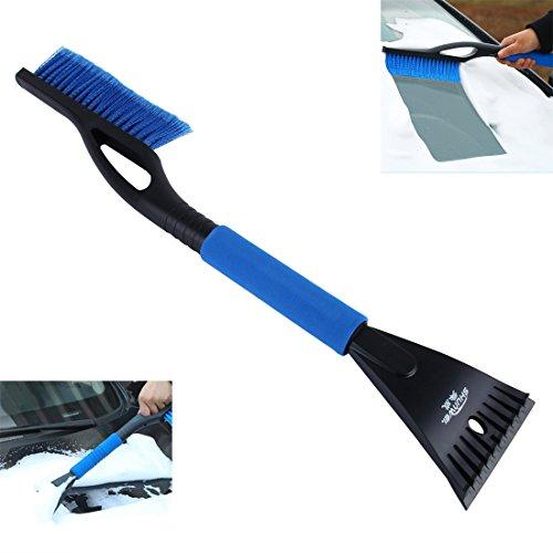 wortek Eiskratzer mit Besen 2 in 1 Tool Premium Scheibenkratzer und Schneebesen mit Griff aus Schaumstoff Eisschaber und Schneefeger mit Nylon-Borsten in Blau/Schwarz