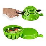 Relaxdays Salatschneider, Schüssel u. Deckel, BPA-frei, spülmaschinenfest, Gemüseschneider, Obst/Salat Schneiden, grün