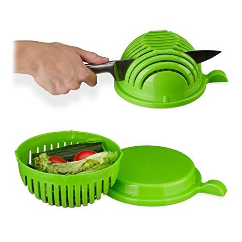 Relaxdays Salatschneider, Schüssel u. Deckel, BPA-frei, spülmaschinenfest, Gemüseschneider, Obst/Salat schneiden, grün, Standard