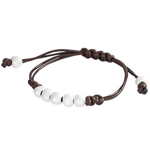 Pulsera de cuero Berydale con nudos y perlas
