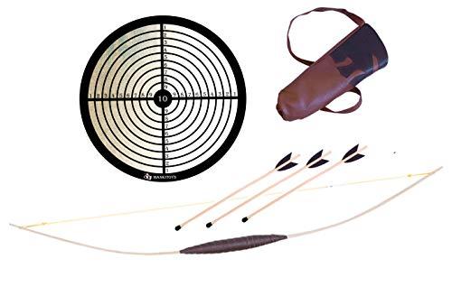 MankiToys Kinderbogenset enthält Kinderbogen aus Holz 120 cm,100cm oder 80cm mit Köcher, 3 Pfeile mit Propfen und Zielscheibe, Kinderbogen ab 5, Bogenschießen (80)