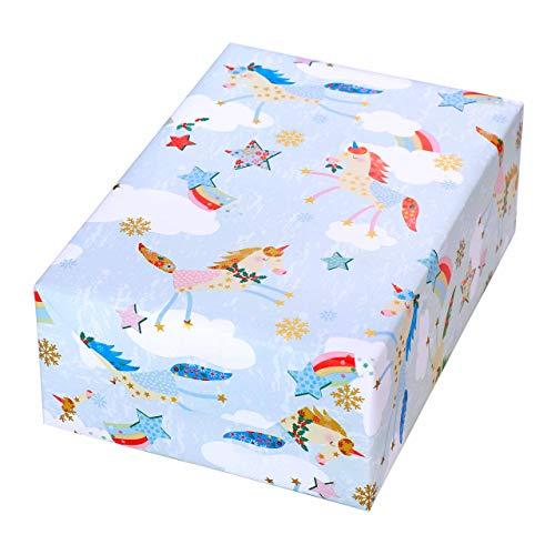 Geschenkpapier Weihnachten Kinder 3 Rollen, Motiv Einhorn bunt mit gold-Akzenten. Für Weihnachten und Mädchen. Edel und hochwertig. Weihnachtsgeschenkpapier.