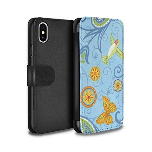 Stuff4 Coque/Etui/Housse Cuir PU Case/Cover pour Apple iPhone X/10 / Rouge/Rose Design / Printemps Collection Bleu/Jaune