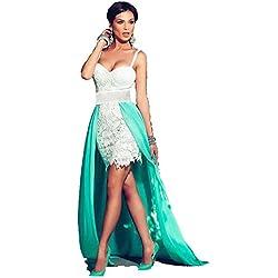 Ovender® Vestido Elegante Baile Dama Cerimonia Largo para Mujer Niñas Party Casual, Formal, Elegante, para Todo Tipo de Fiestas - L - Verde & Bianco Tulipano