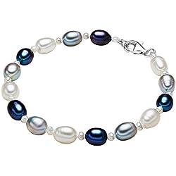 Valero Pearls - Pulsera de perlas embellecida con Perlas de agua dulce - Hilo de seda - 925 Plata esterlina - Pearl Jewellery, Pulseras, Pulsera de Hilo de seda - 474521