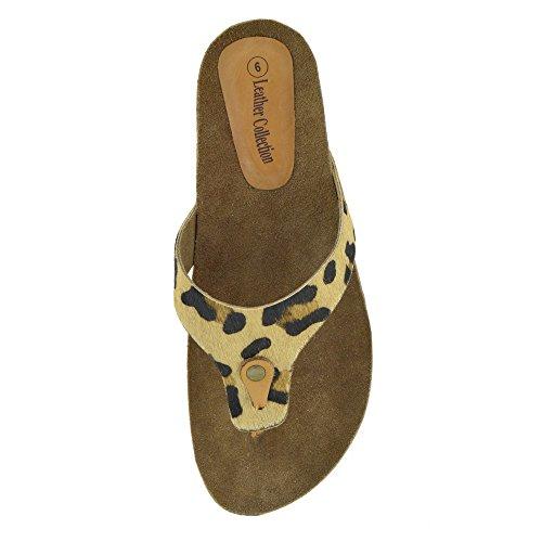 Damen Mode Sommer Strand Flip Flops Sandalen Leder Schuhe Leopard