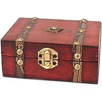 Comparador de precios OUNONA - Caja de Almacenamiento de Madera con Cerradura Vintage para Guardar Joyas y Organizador de Regalo de Cumpleaños, Regalos de Fiesta - precios baratos