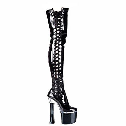 GGT Boutique Oberschenkel hoch geschnürt Stiefel PVC / Leder 17cm ()