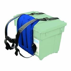Shakespeare Sherpa Sangle avec dossier pour porter une boîte de pêche Bleu Boite verte vendue séparément