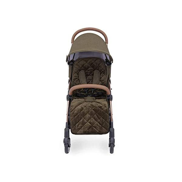 Ickle Bubba Globe Prime Baby Stroller | Lightweight and Portable Stroller Pushchair | Folds Slim for Ultra Compact Storage | UPF 50+ Extendable Hood and Baby Carriage Accessories | Khaki/Rose Gold Ickle Bubba ONE-HANDED 3 POSITION SEAT RECLINE: Luxury baby stroller suitable from birth to 15kg-approx. 3 years old; features luxury soft quilted seat liner, footmuff, cupholder, buggy organiser, storage bag and rain cover UPF 50+ RATED ADJUSTABLE HOOD: Includes a peekaboo window to keep an eye on the little one; extendable hood-UPF rated-to protect against the sun's harmful rays and inclement weather ULTRA COMPACT AND LIGHTWEIGHT: Easy to transport, aluminum frame is lightweight and portable-weighs only 6.4kg; folds compact for storage in small places-fits in aeroplane overhead; carry strap and leather shoulder pad included 12
