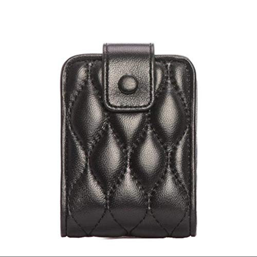 ZXPzZ-Desktop-Spiegel Lippenstift-Tasche Mit Spiegel-Make-up-Tasche Reise-Make-up-Tasche Mit Spiegel-Geschenk-Leder-Lippenstift-Fall-Halter-Organisator-Tasche (Farbe : Schwarz) (Spiegel Mit Lippenstift-halter)