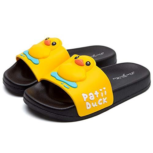 HSNA Ciabatte Bagno per Bambino Antiscivolo Pantofole Interno Ragazze Ragazzo Scarpe da Spiaggia e Piscina (Nero EU 20/21)=N°21