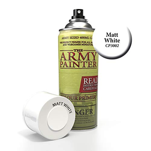 The Army Painter Colour Primer, Matt White, 400ml, 13.5oz - Acrylic Spray Undercoat for Miniature Painting.