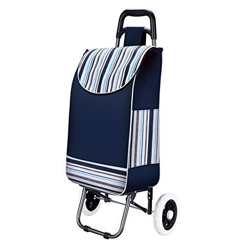 QIANGDA-Handwagen Einkaufstrolley Faltbar Faltender Einkaufswagen Wasserdichtes Oxford-Tuch Schaumrad, Höhe 92cm, 4 Farben (Farbe : Dunkelblau)