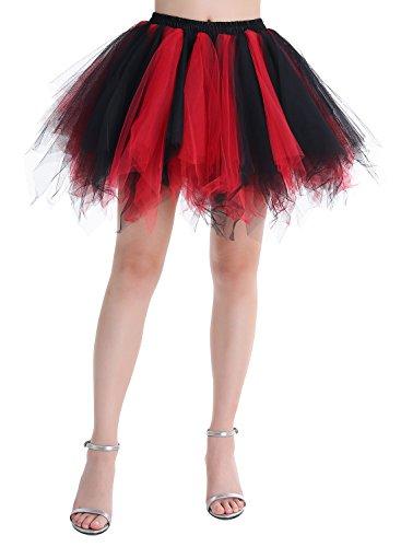 Dressystar Minirock Kurz Unterrock Tutu Unregelmäßig Tüll Damen Mädchen Ballettrock Multi-Schichten Schwarz Rot