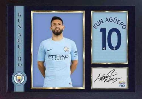 3a93536b1 S E DESING Kun Sergio Aguero - Foto autografiada con Marco para Hombre de  Fútbol