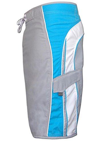SEESTERN Herren Boardshorts Surfshorts Boardshort Surf Short Bade Shorts Gr.S/M Grau_Hellblau