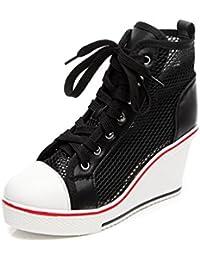 JRenok Baskets Mode Compensées Femmes Chaussures de Filet Respirant Montante  Sneakers Casuel 35-43 c28a376d50e8