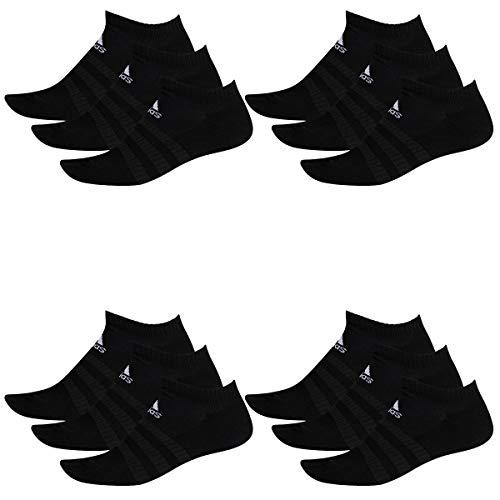 adidas 12 Paar Performance No Show Sneaker Socken Unisex Kurzsocke, Farbe:Black, Socken & Strümpfe:43-45 -