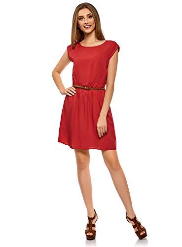 oodji Ultra Damen Viskose-Kleid mit Gürtel, Rot, DE 34/EU 36/XS