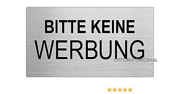 Bitte Keine Werbung Briefkastenschild aus Edelstahl Nr.29049 Original Ofform Edelstahlschilder-Kollektion 80x44 mm selbstklebend