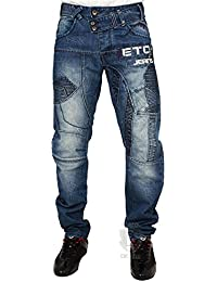 MENS NEW EM518 TWISTED LEG MID WASH JEANS LATEST FUNKY DESIGN 28 TO 42 RRP £44.99