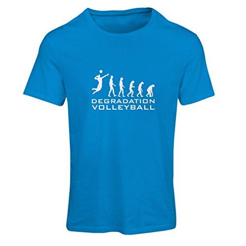 Frauen T-Shirt Abbau Volleyball (Large Blau Weiß)