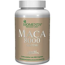 BIOMENTA MACA HOCHDOSIERT 8000 aus PERU | AKTIONSPREIS!!! | Pures 10:1 Maca Extrakt aus Maca Pulver | 180 Maca Kapseln | 3 Monatskur | VEGAN | Für vitale Frauen & Männer