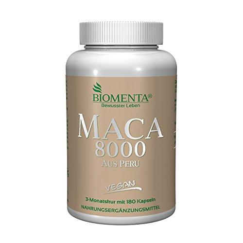 BIOMENTA MACA HOCHDOSIERT 8000 aus PERU | Pures 10:1 Maca Extrakt aus Maca Pulver | 180 Maca Kapseln | 3 Monatskur | VEGAN | Für vitale Frauen & Männer