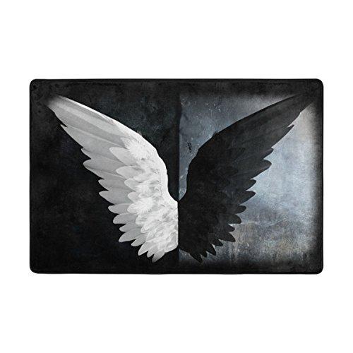 LIANCHENYI weiß und schwarz Engel Flügel Rutschfeste Fußmatte Bereich Teppich Teppich Fußmatten Fußmatte Indoor Outdoor Badezimmer 91,4x 61cm