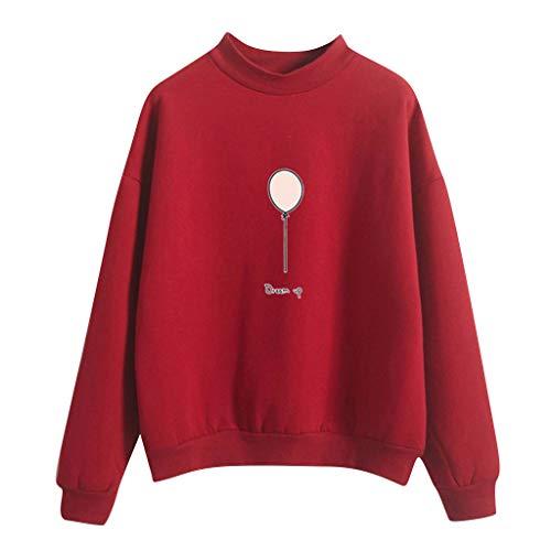 Day.LIN Damen Hoodie, Frauen Brief gedruckt Sweatshirt Langarm Nähen Bluse Tops