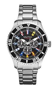 Nautica 0 - Reloj de cuarzo para hombre, con correa de acero inoxidable, color plateado de Nautica