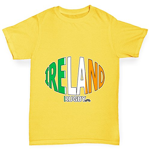 TWISTED ENVY Girl 's Irland Rugby Ball Flagge Funny Baumwolle T-Shirt Gr. X-Small, Gelb
