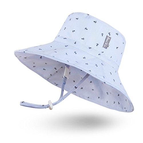 Ami & Li tots Jungen Sonnenhut Eimer Einstellbar für Baby Mädchen Jungen Säugling Kind Kleinkind Hut Sonnenschutz UPF 50 Unisex - M: Bootsanker