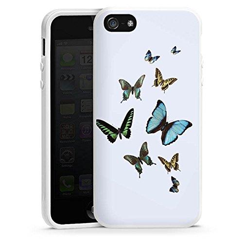 Apple iPhone 6 Housse Étui Silicone Coque Protection Papillon Papillons couleurs Housse en silicone blanc