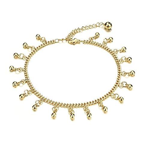 M. jvisun Fashion 18K plaqué or Bells Charme Chaîne gourmette bracelet de cheville de plage pour fille femmes, Or, 20,5cm -10.24