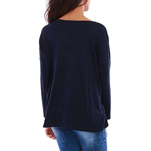 La Modeuse - Pull léger femme en maille fine Bleu