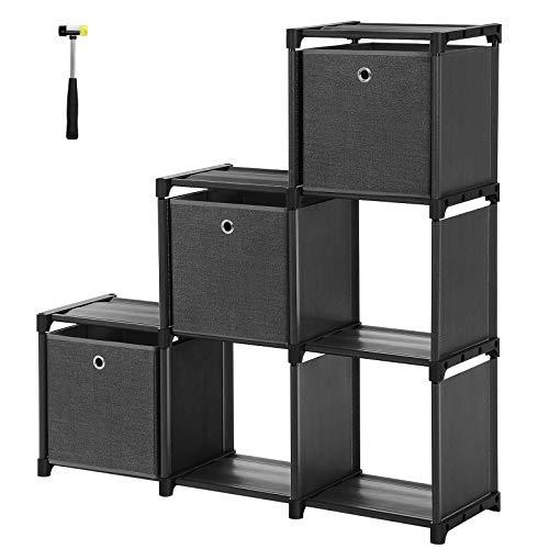 SONGMICS Würfelregal, 6 Würfel Bücherregal, Treppenregal mit 3 Stoffboxen, DIY Aufbewahrung für Kleidung, mit robustem Metallrahmen, inklusive Gummihammer, 105 x 30 x 105 cm, schwarz LSN23BK