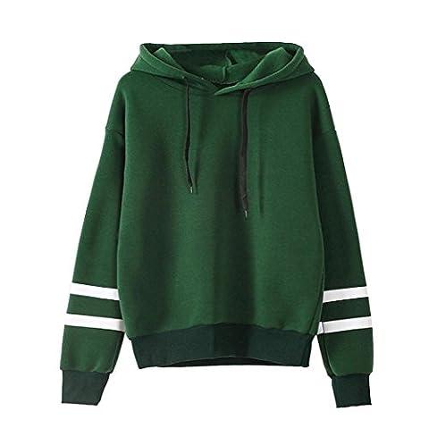 Tonsee Femmes de Long Hoodie Sweatshirt pull Pullover Tops Blouse à manches (M, Vert)