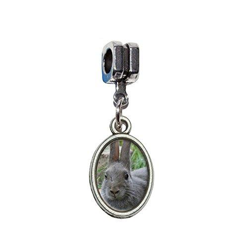 Bunny Kaninchen grau–Ostern italienischen europäischen Euro-Stil Armband Charm -
