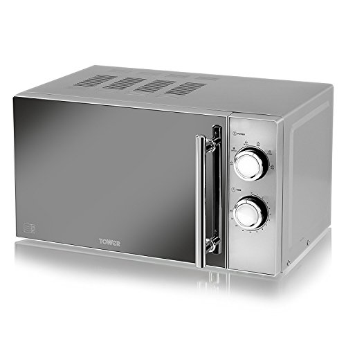Tower Modern Kitchen Set – a Silver Microwave, 800 W, 20 L; Silver 2 Slice Toaster and a Illuminated Glass Fast Boil Jug Kettle, 3000 W, 1.7 Litre