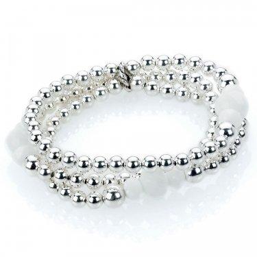 Park Lane Silber & Weiß 3Strand Armband versilbert