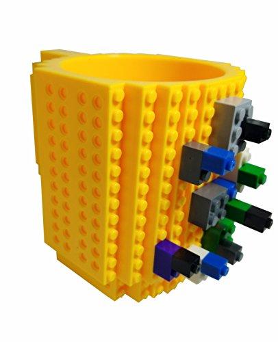 Swikee bpa-free12–DIY Block Puzzle Becher für Kinder Weihnachtsgeschenk/build-on Brick Tasse Lego Typ Bausteine Kaffee Tasse (gelb) (Build-typ)