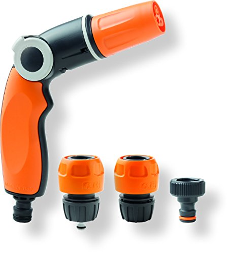GF 80005590 Kit Pistolet d'arrosage Multi 3 Jet Easy + raccords, Orange