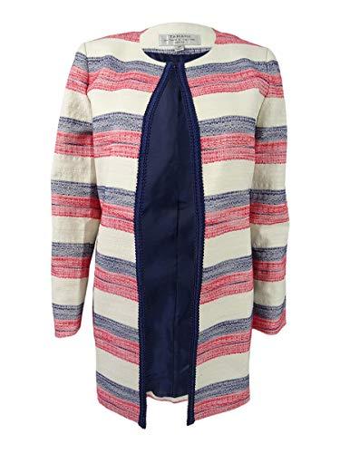 Tahari ASL Women's Petite Striped Flyaway Blazer (6P, Ivory/Navy/Poppy)