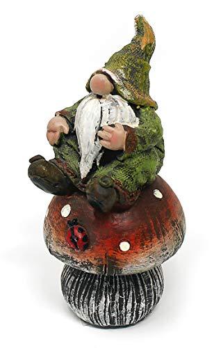 Deko Figur Wichtel Zwerg mit Knollnase auf Fliegenpilz aus Polystein grün rot, 12,5 cm groß, witzige Gartenfigur Gartenzwerg für den Garten - 2