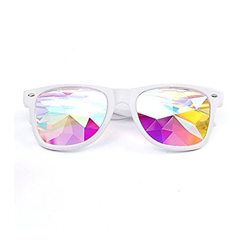 DAY.LIN Ray Ban Sonnenbrille Damen Herren Kaleidoskop-Gläser Rave-Festparty EDM Sonnenbrillen Gebeugte Linse (Weiß)