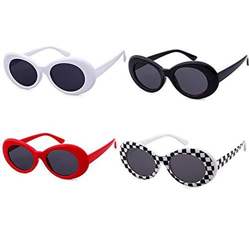ADEWU Ovale Sonnenbrille UV400 Schutz Vintage Clout Goggles für Damen Herren (1-Weiß + Schwarz + Gitter + Rot-4pcs)