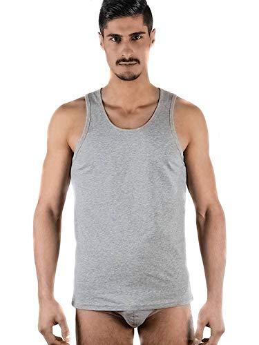 ALBERO 2 er Pack Herren Tank Top Bio-Baumwolle GOTS Tanktop Unterhemd T-Shirt 4 Farben (L, grau) -